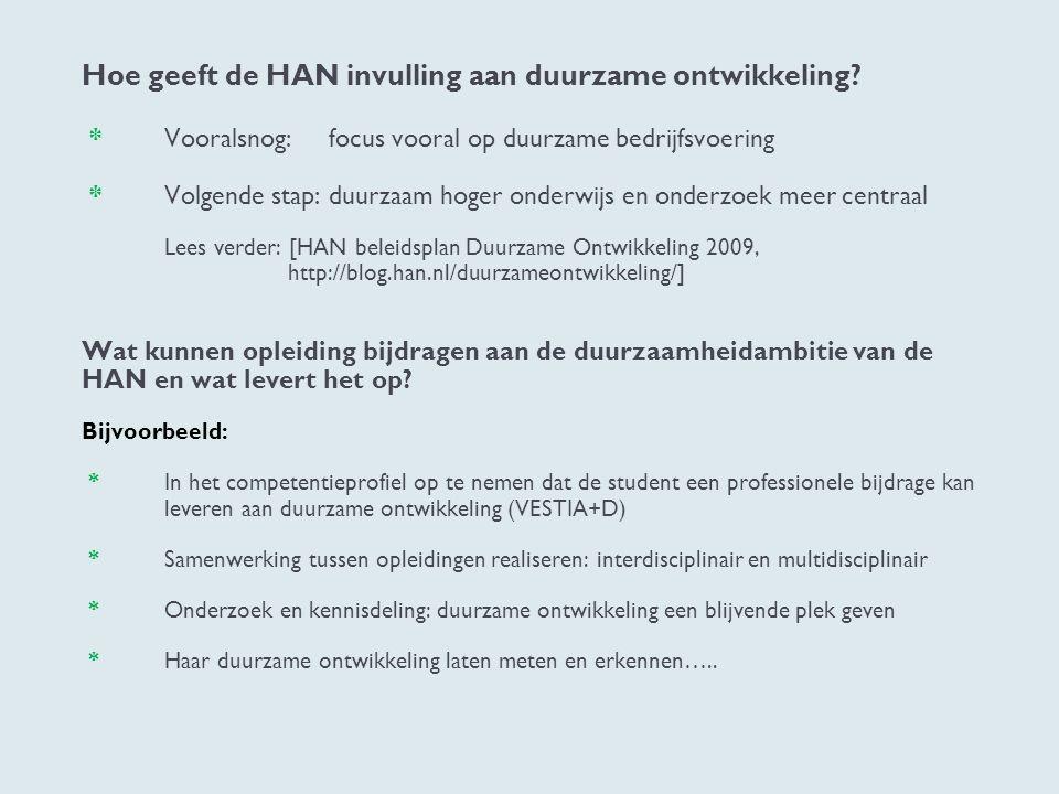 Hoe geeft de HAN invulling aan duurzame ontwikkeling. Vooralsnog: