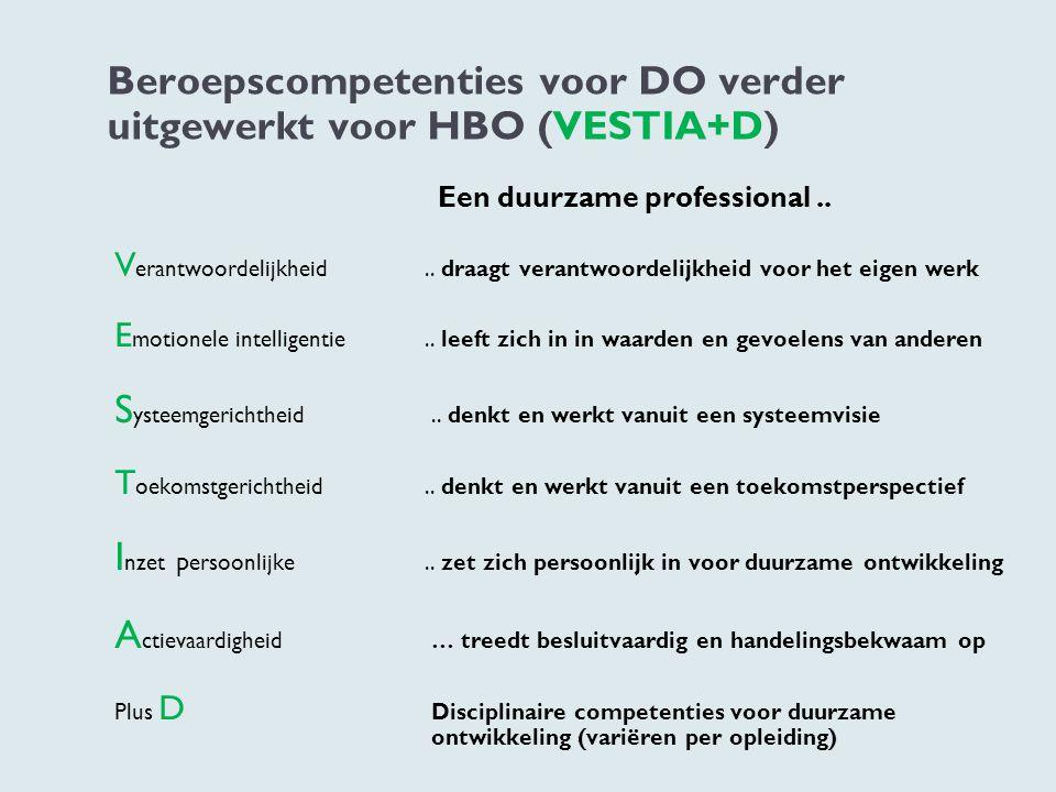Beroepscompetenties voor DO verder uitgewerkt voor HBO (VESTIA+D)