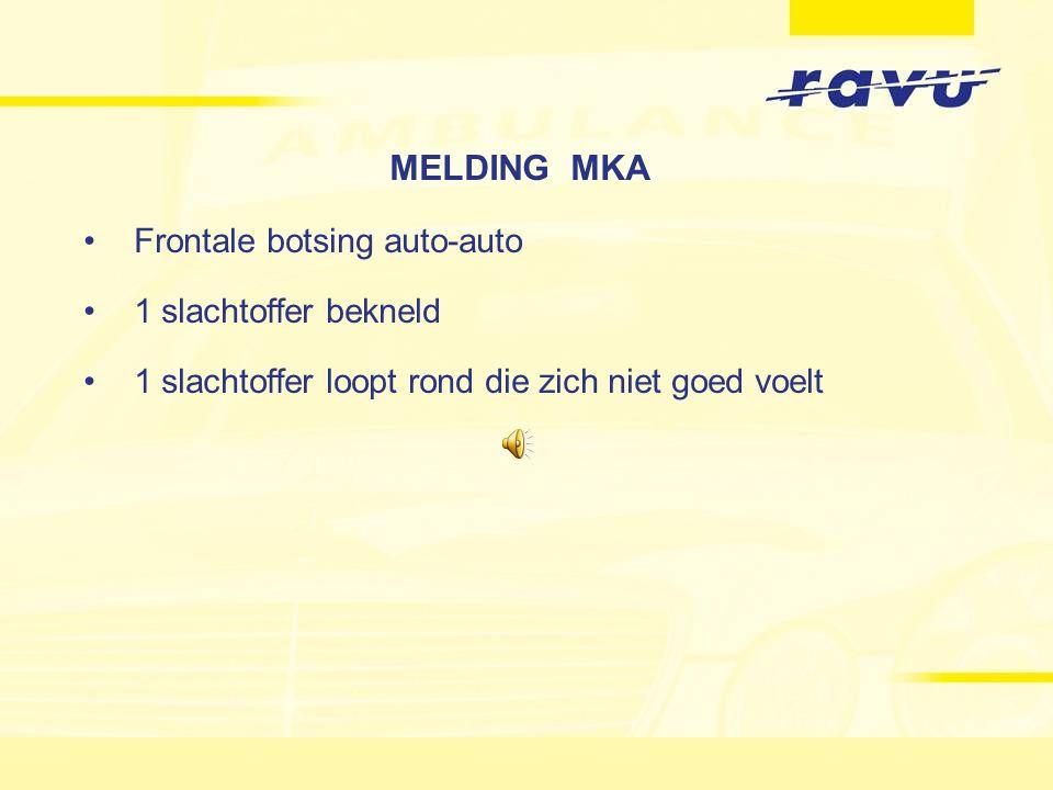 MELDING MKA Frontale botsing auto-auto 1 slachtoffer bekneld