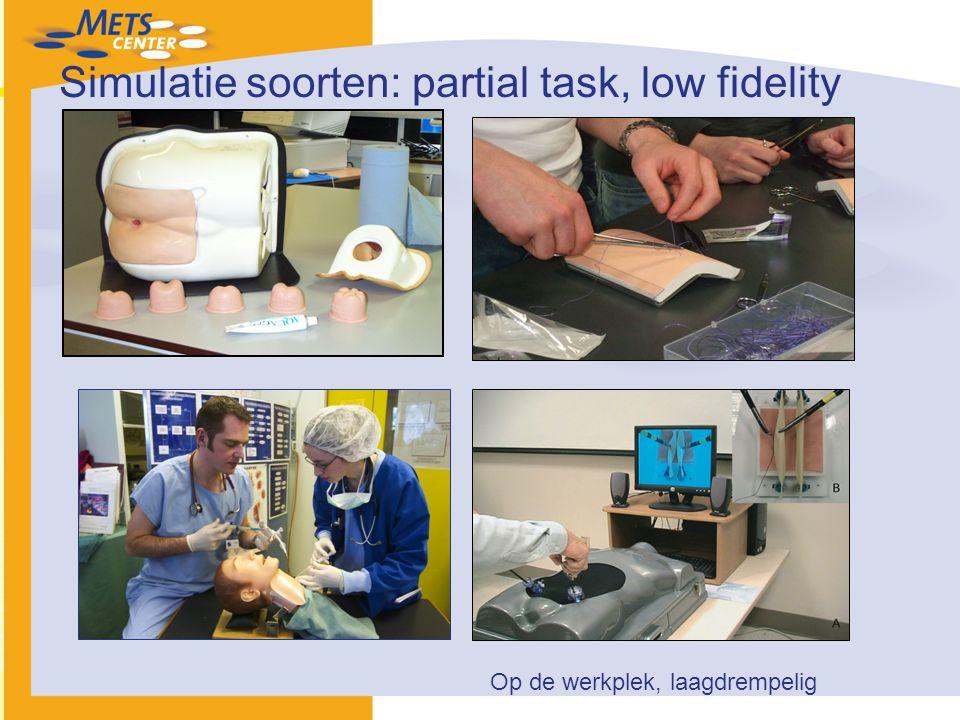 Simulatie soorten: partial task, low fidelity