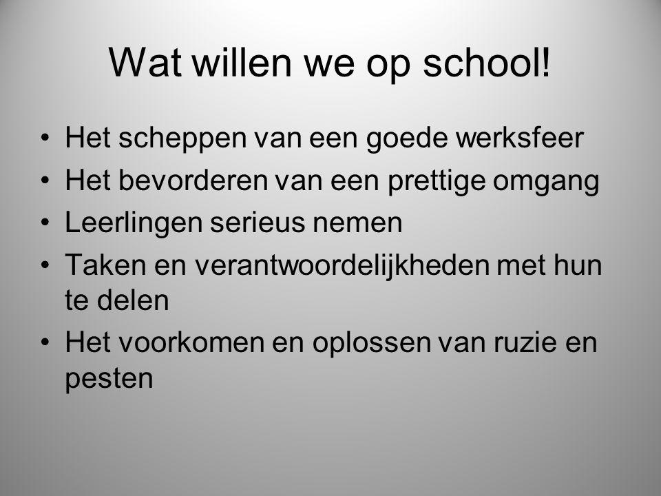 Wat willen we op school! Het scheppen van een goede werksfeer