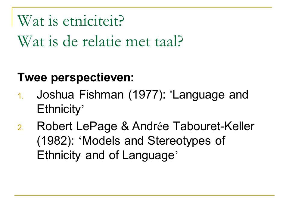 Wat is etniciteit Wat is de relatie met taal