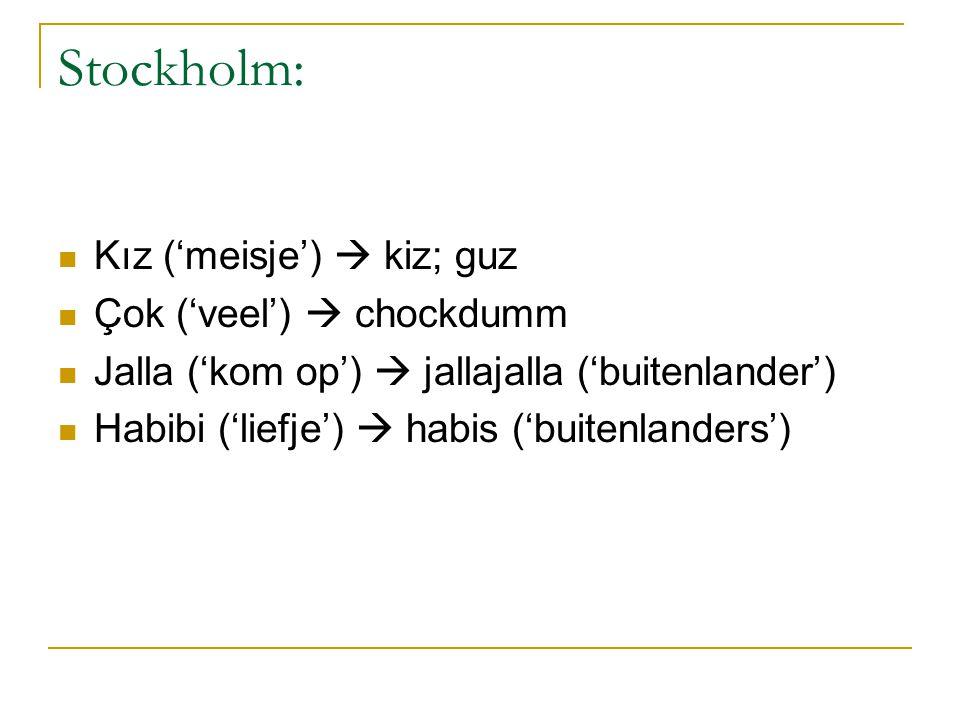 Stockholm: Kız ('meisje')  kiz; guz Çok ('veel')  chockdumm