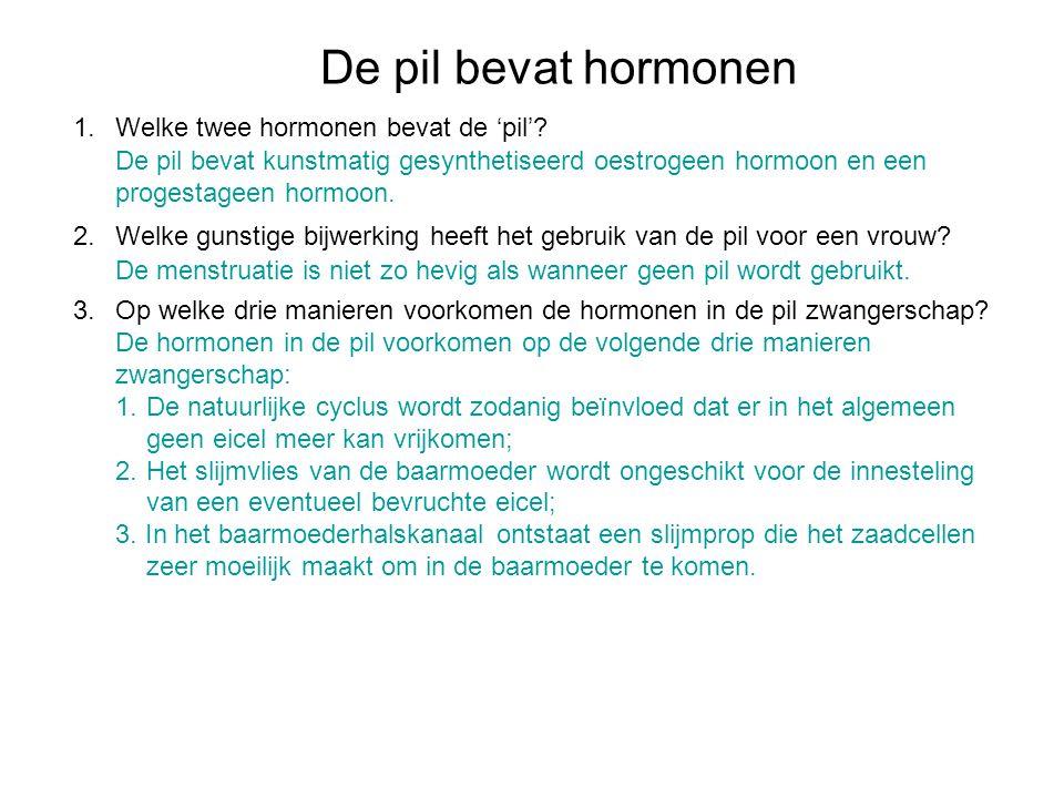 De pil bevat hormonen Welke twee hormonen bevat de 'pil'
