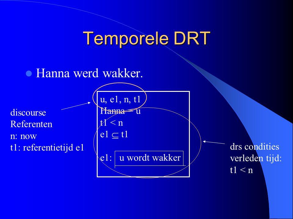 Temporele DRT Hanna werd wakker. u, e1, n, t1 Hanna = u t1 < n