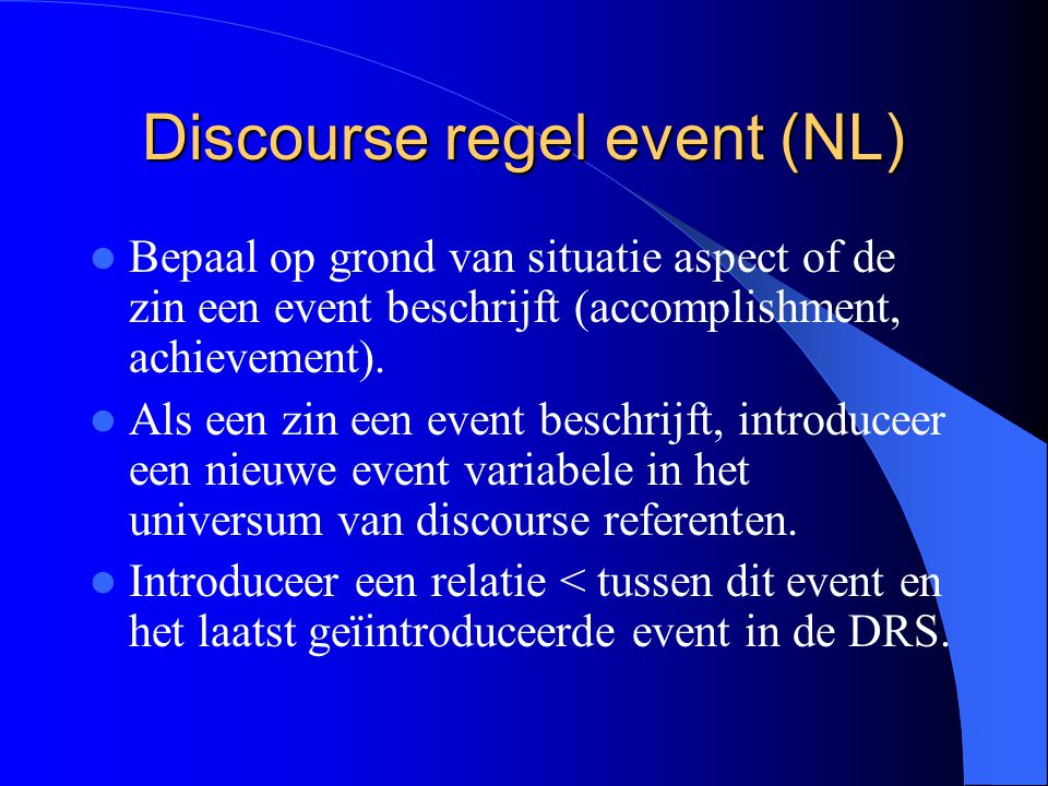 Discourse regel event (NL)