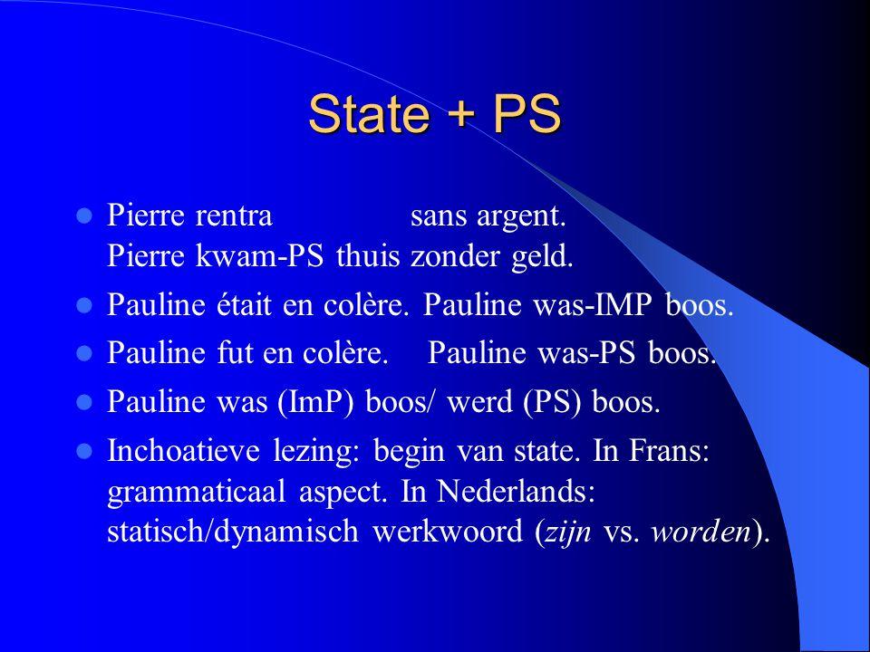 State + PS Pierre rentra sans argent. Pierre kwam-PS thuis zonder geld.