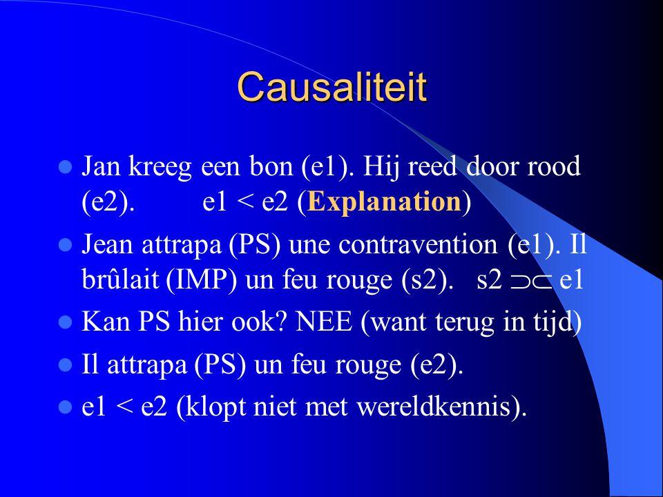 Causaliteit Jan kreeg een bon (e1). Hij reed door rood (e2). e1 < e2 (Explanation)