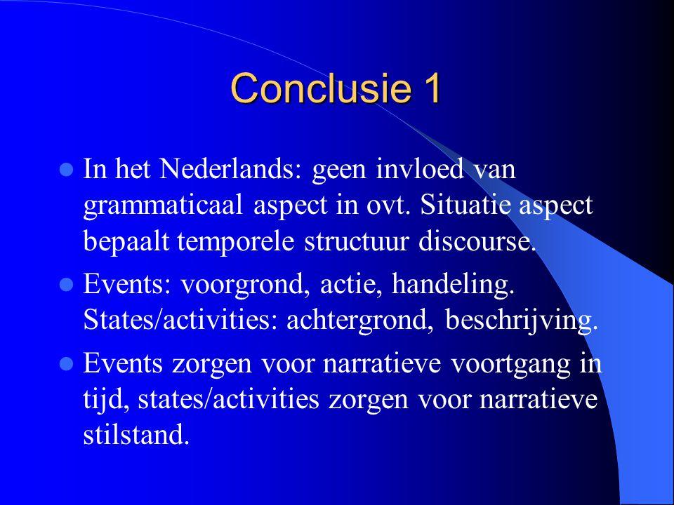Conclusie 1 In het Nederlands: geen invloed van grammaticaal aspect in ovt. Situatie aspect bepaalt temporele structuur discourse.