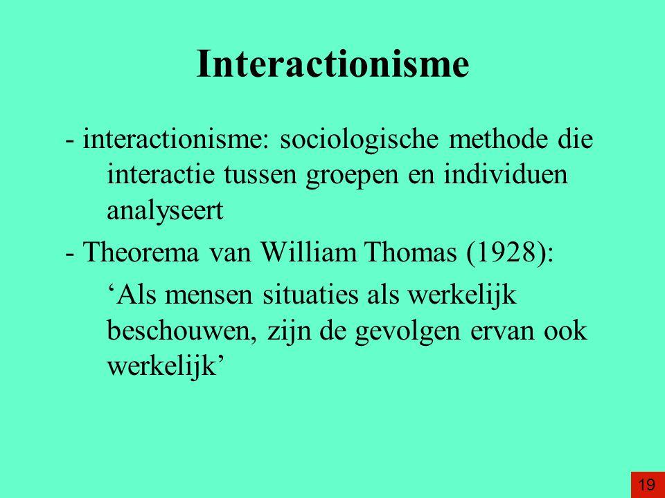 Interactionisme - interactionisme: sociologische methode die interactie tussen groepen en individuen analyseert.