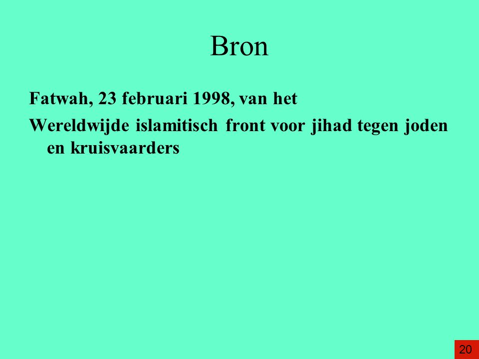 Bron Fatwah, 23 februari 1998, van het