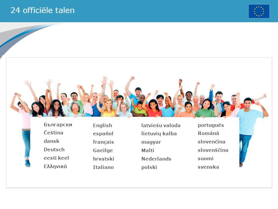 24 officiële talen Български Čeština dansk Deutsch eesti keel Ελληνικά