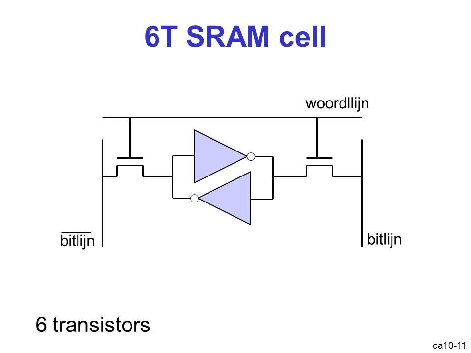6T SRAM cell 6 transistors woordllijn bitlijn bitlijn