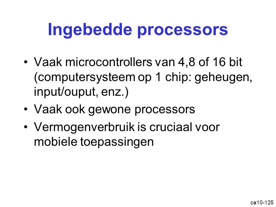 Ingebedde processors Vaak microcontrollers van 4,8 of 16 bit (computersysteem op 1 chip: geheugen, input/ouput, enz.)