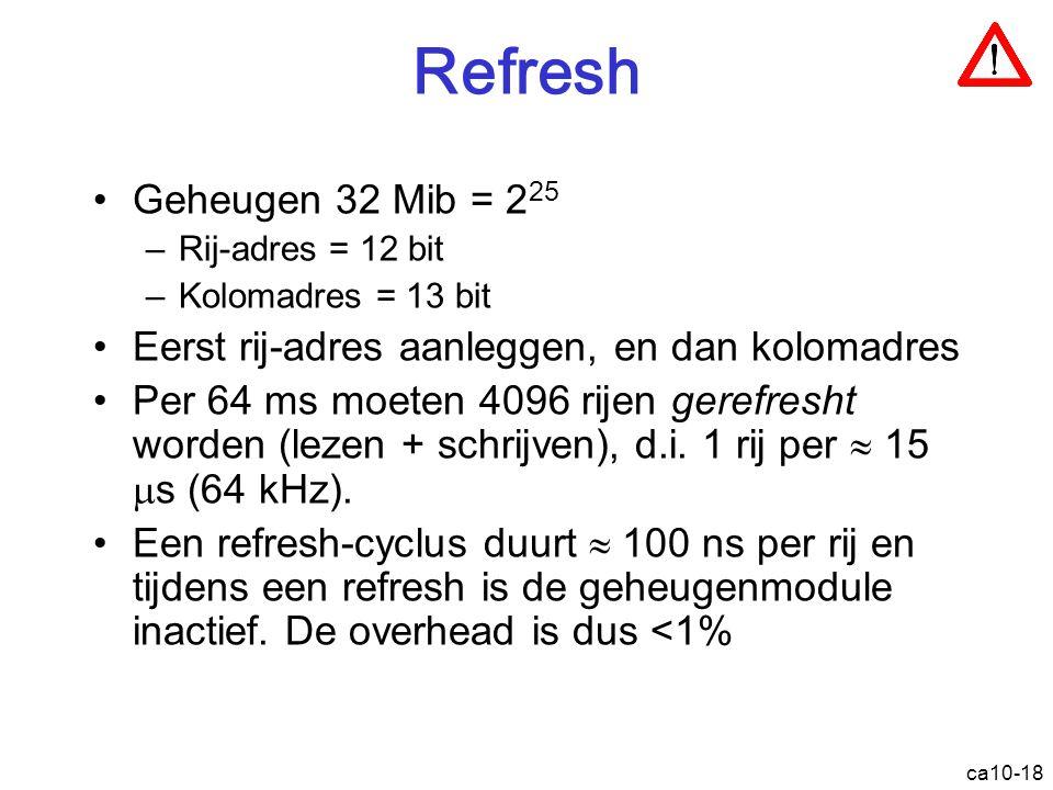 Refresh Geheugen 32 Mib = 225. Rij-adres = 12 bit. Kolomadres = 13 bit. Eerst rij-adres aanleggen, en dan kolomadres.