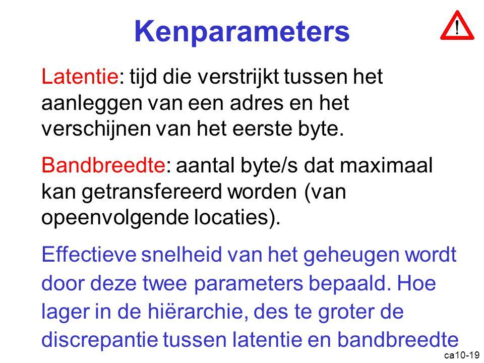 Kenparameters Latentie: tijd die verstrijkt tussen het aanleggen van een adres en het verschijnen van het eerste byte.
