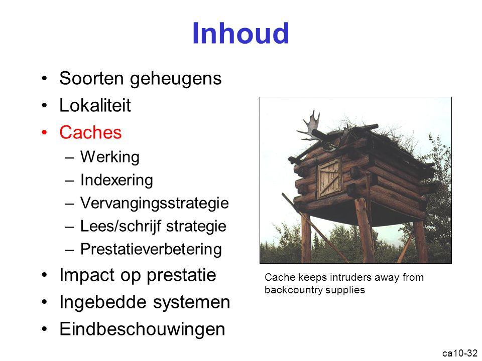 Inhoud Soorten geheugens Lokaliteit Caches Impact op prestatie