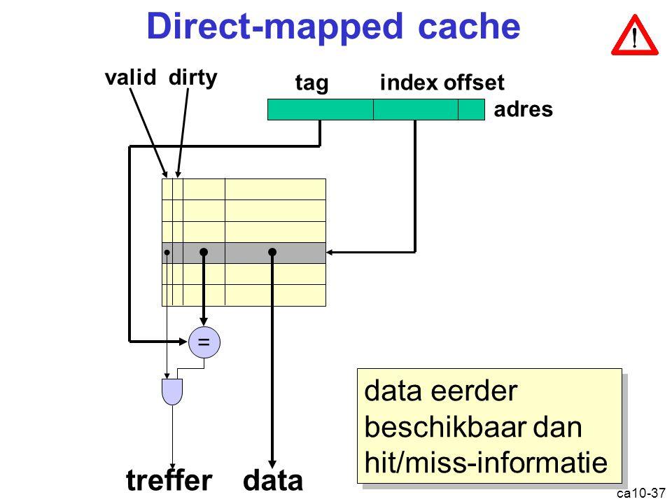Direct-mapped cache data eerder beschikbaar dan hit/miss-informatie