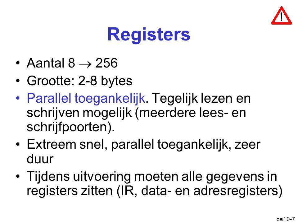 Registers Aantal 8  256 Grootte: 2-8 bytes