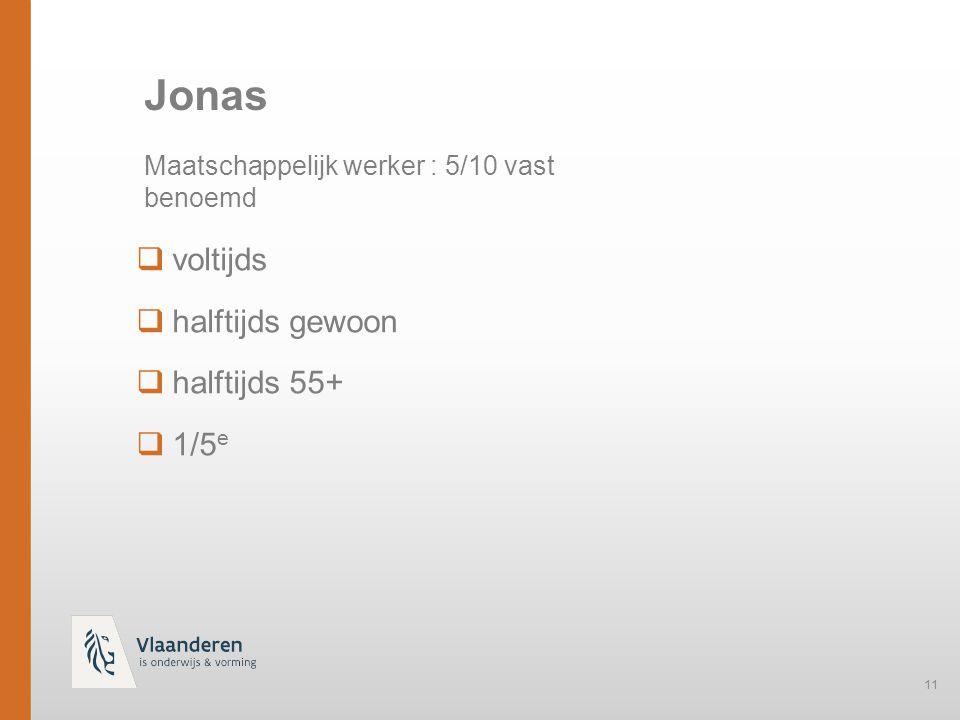 Jonas voltijds halftijds gewoon halftijds 55+ 1/5e