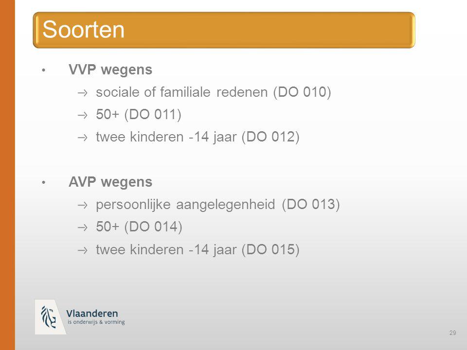Soorten VVP wegens sociale of familiale redenen (DO 010) 50+ (DO 011)