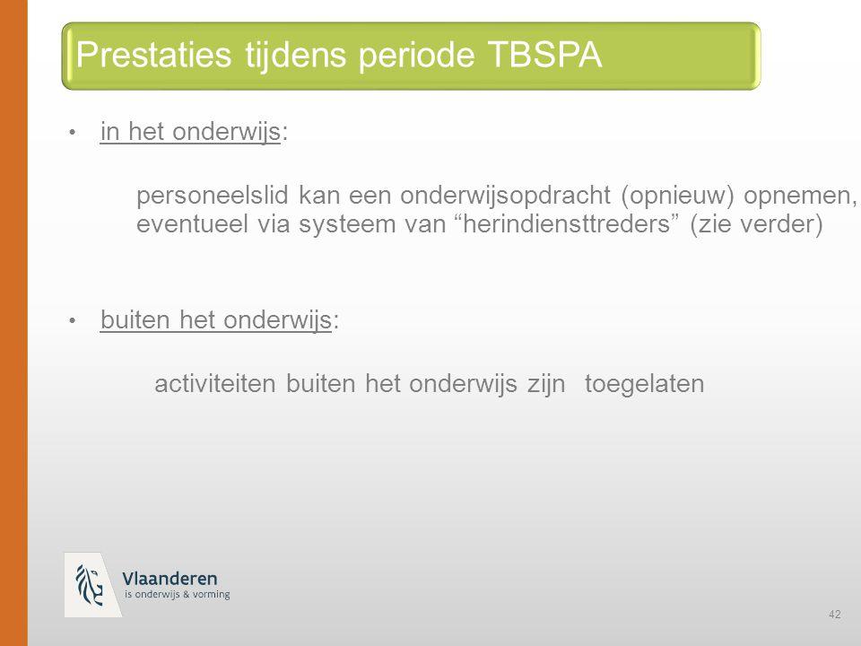 Prestaties tijdens periode TBSPA