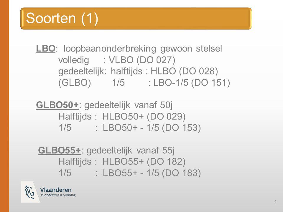 Soorten (1) LBO: loopbaanonderbreking gewoon stelsel