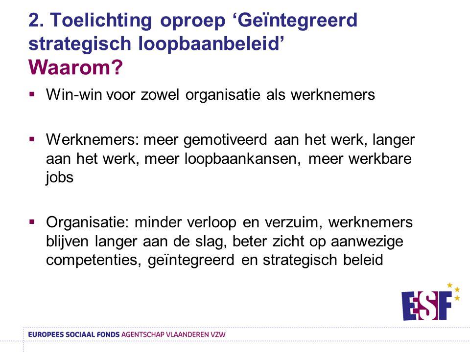 2. Toelichting oproep 'Geïntegreerd strategisch loopbaanbeleid' Waarom