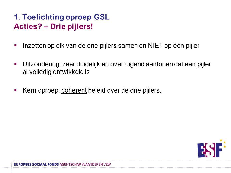 1. Toelichting oproep GSL Acties – Drie pijlers!