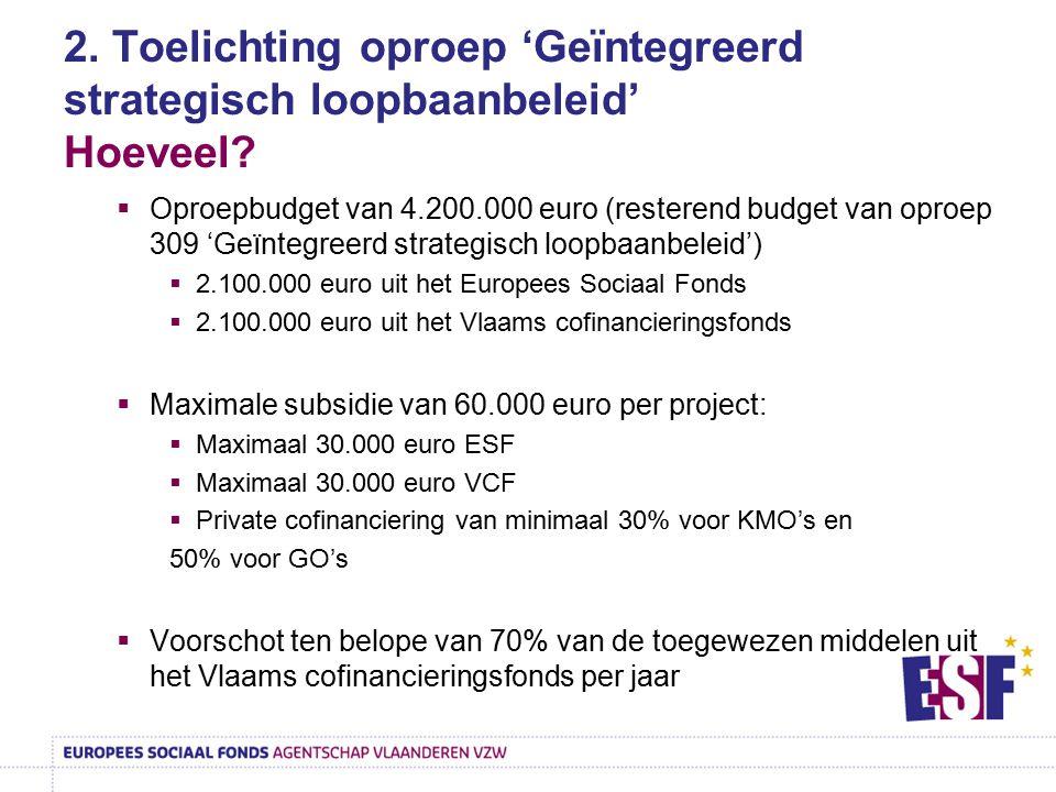 2. Toelichting oproep 'Geïntegreerd strategisch loopbaanbeleid' Hoeveel