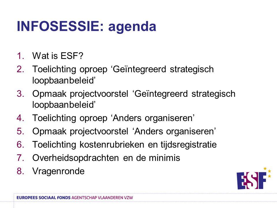 INFOSESSIE: agenda Wat is ESF