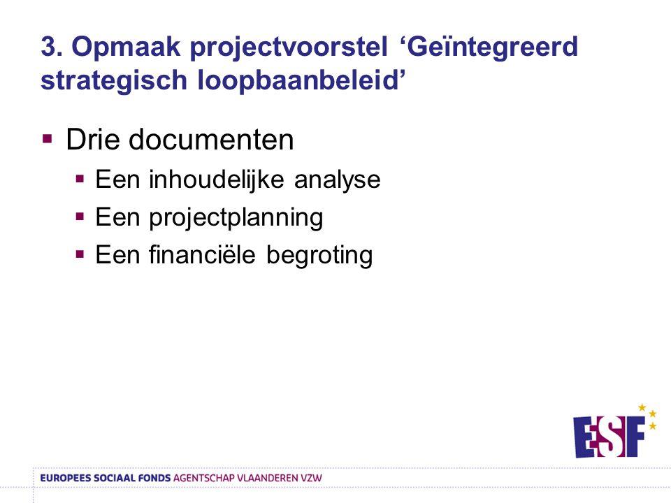 3. Opmaak projectvoorstel 'Geïntegreerd strategisch loopbaanbeleid'