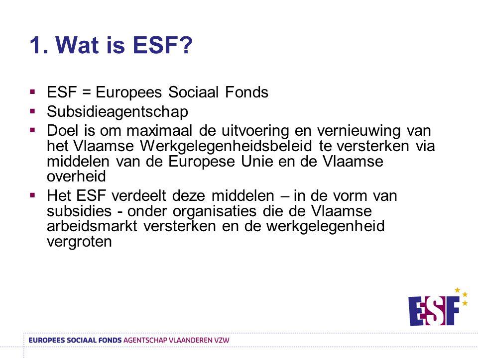 1. Wat is ESF ESF = Europees Sociaal Fonds Subsidieagentschap