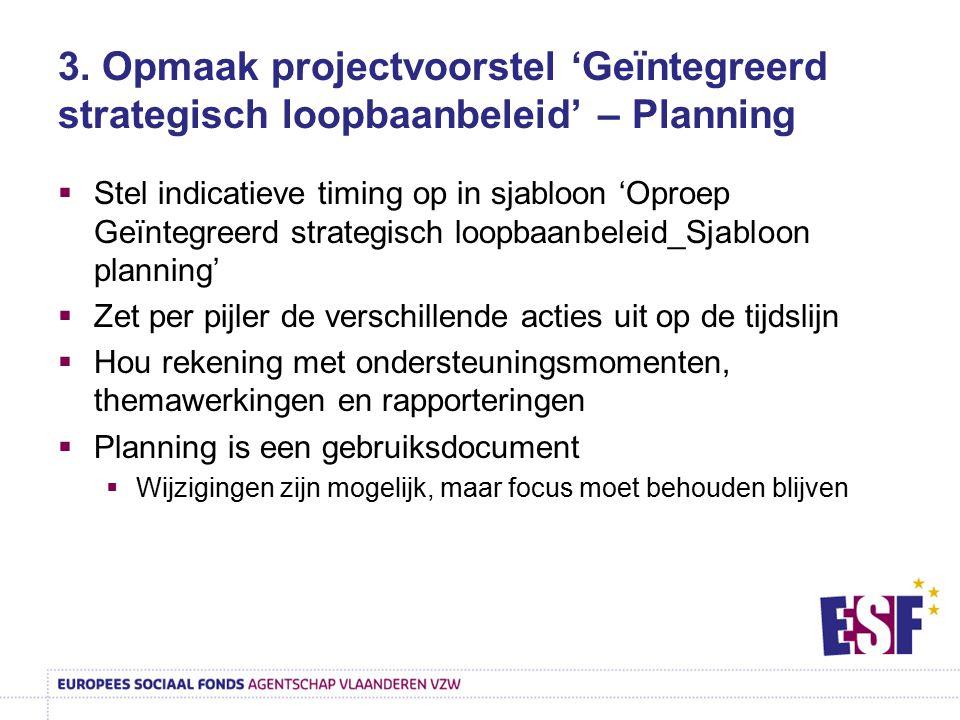 3. Opmaak projectvoorstel 'Geïntegreerd strategisch loopbaanbeleid' – Planning