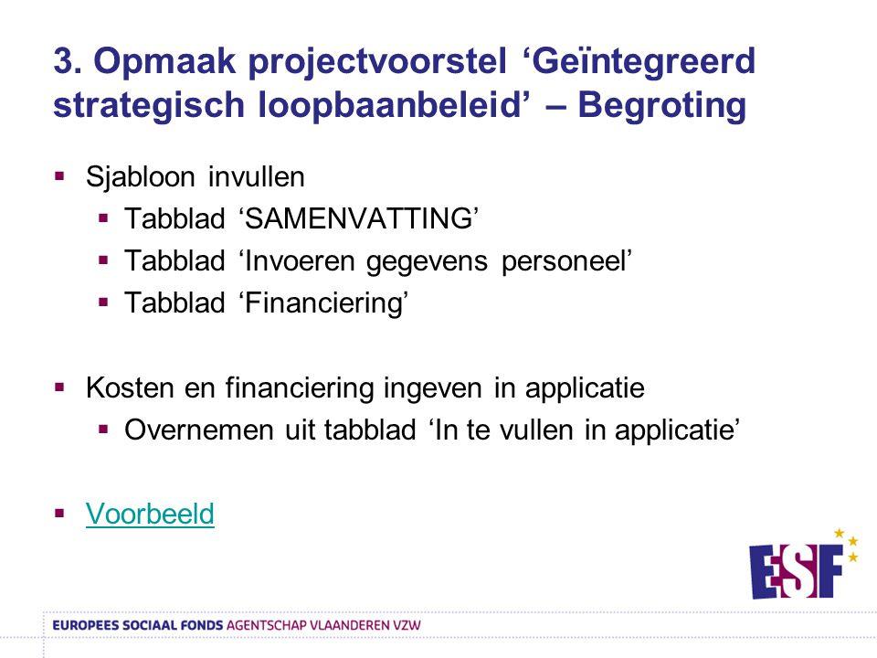 3. Opmaak projectvoorstel 'Geïntegreerd strategisch loopbaanbeleid' – Begroting