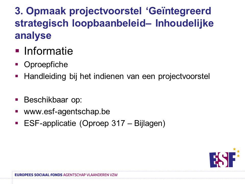 3. Opmaak projectvoorstel 'Geïntegreerd strategisch loopbaanbeleid– Inhoudelijke analyse
