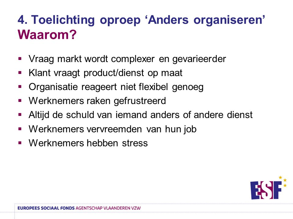 4. Toelichting oproep 'Anders organiseren' Waarom
