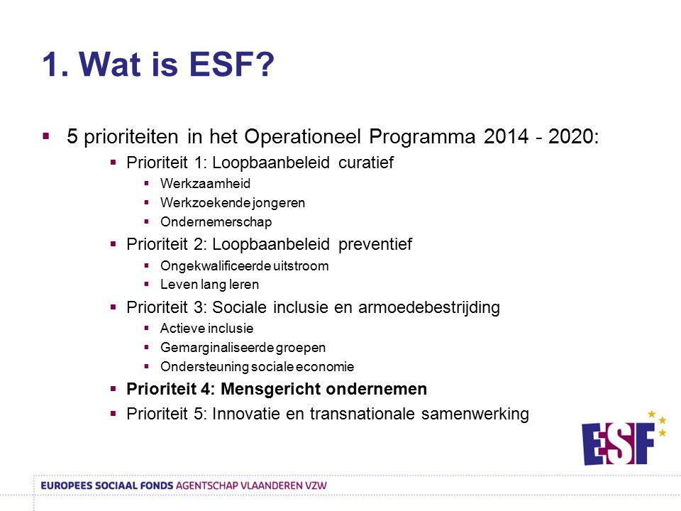 1. Wat is ESF 5 prioriteiten in het Operationeel Programma 2014 - 2020: Prioriteit 1: Loopbaanbeleid curatief.