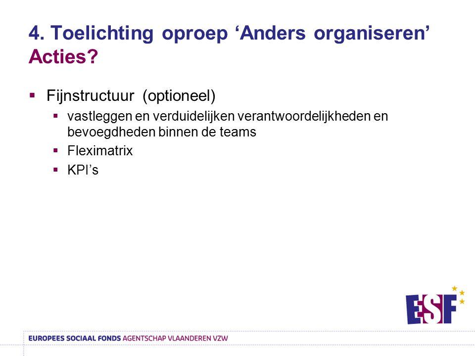 4. Toelichting oproep 'Anders organiseren' Acties