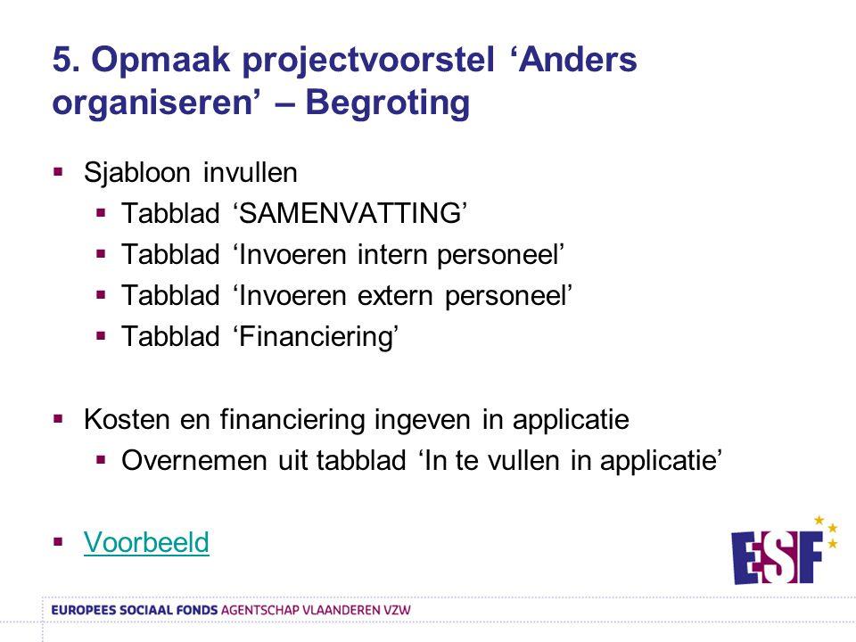 5. Opmaak projectvoorstel 'Anders organiseren' – Begroting