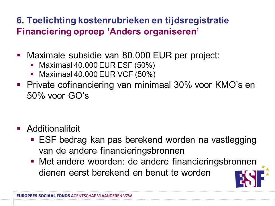 Maximale subsidie van 80.000 EUR per project: