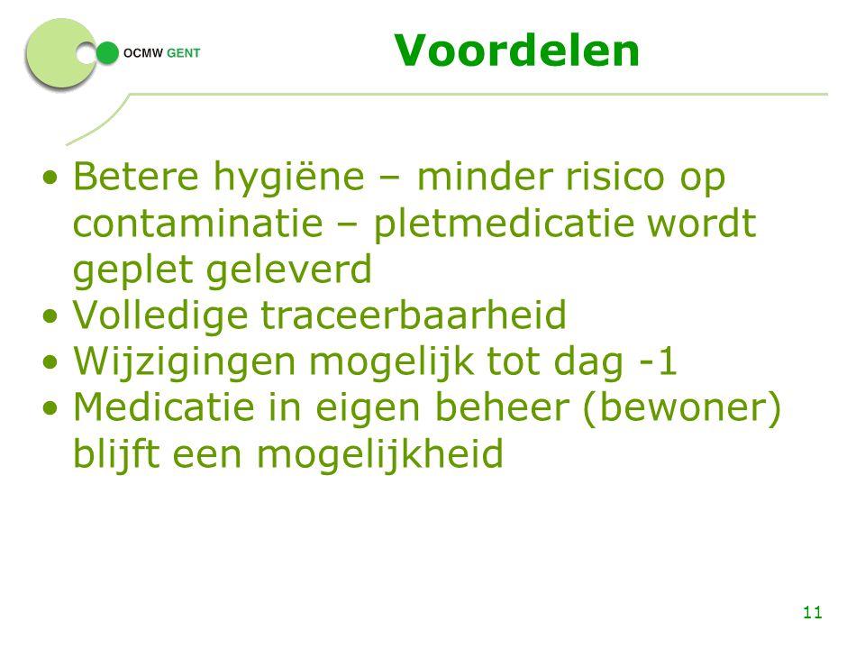 Voordelen Betere hygiëne – minder risico op contaminatie – pletmedicatie wordt geplet geleverd. Volledige traceerbaarheid.