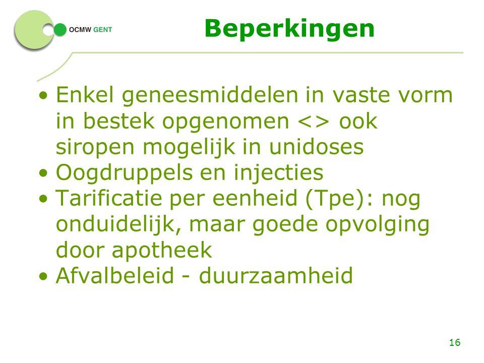 Beperkingen Enkel geneesmiddelen in vaste vorm in bestek opgenomen <> ook siropen mogelijk in unidoses.