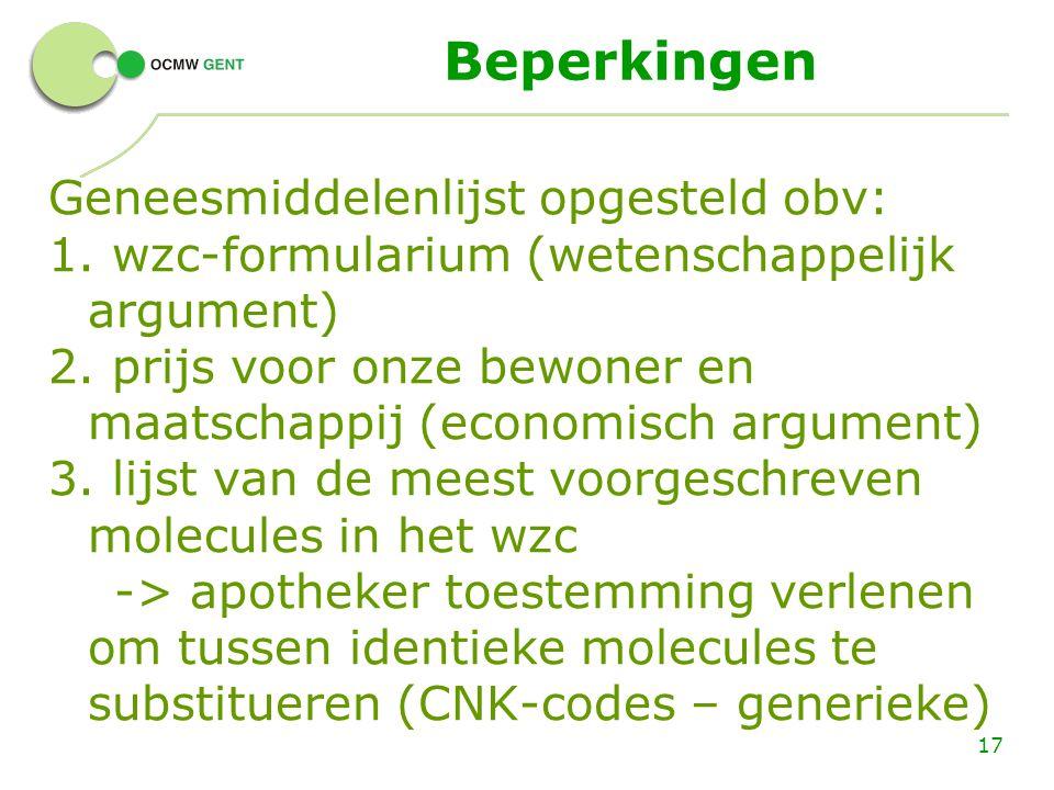 Beperkingen Geneesmiddelenlijst opgesteld obv: