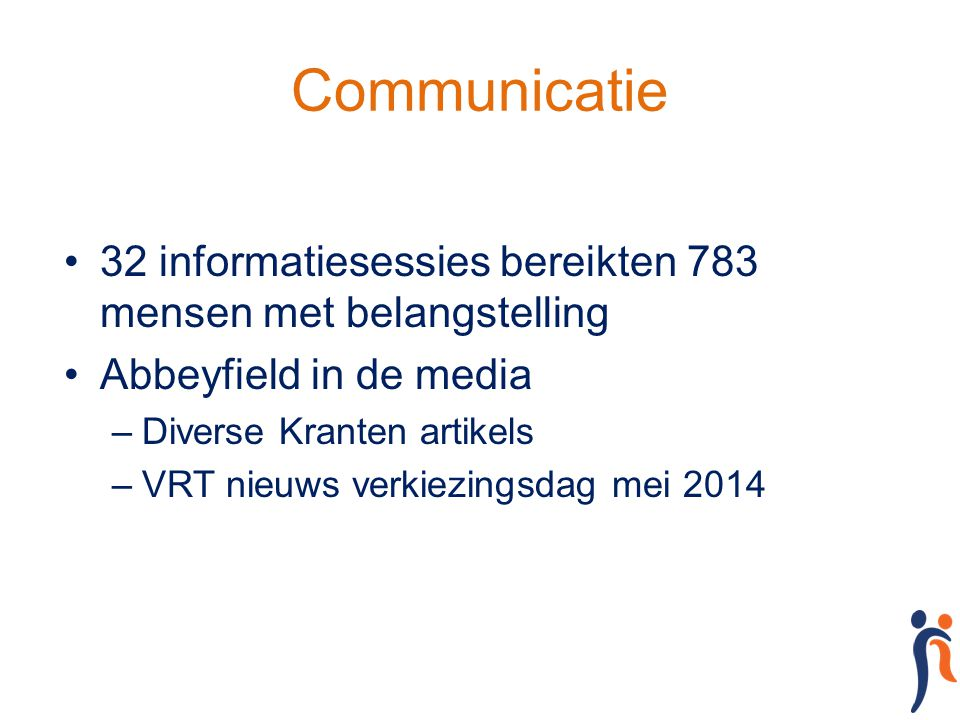 Communicatie 32 informatiesessies bereikten 783 mensen met belangstelling. Abbeyfield in de media.