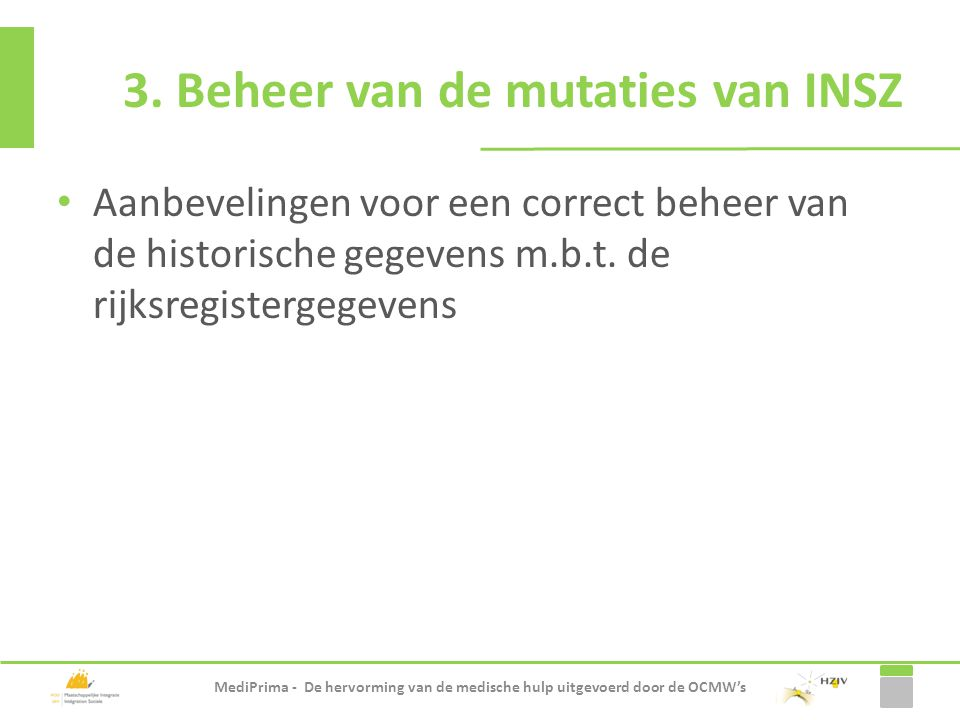 3. Beheer van de mutaties van INSZ