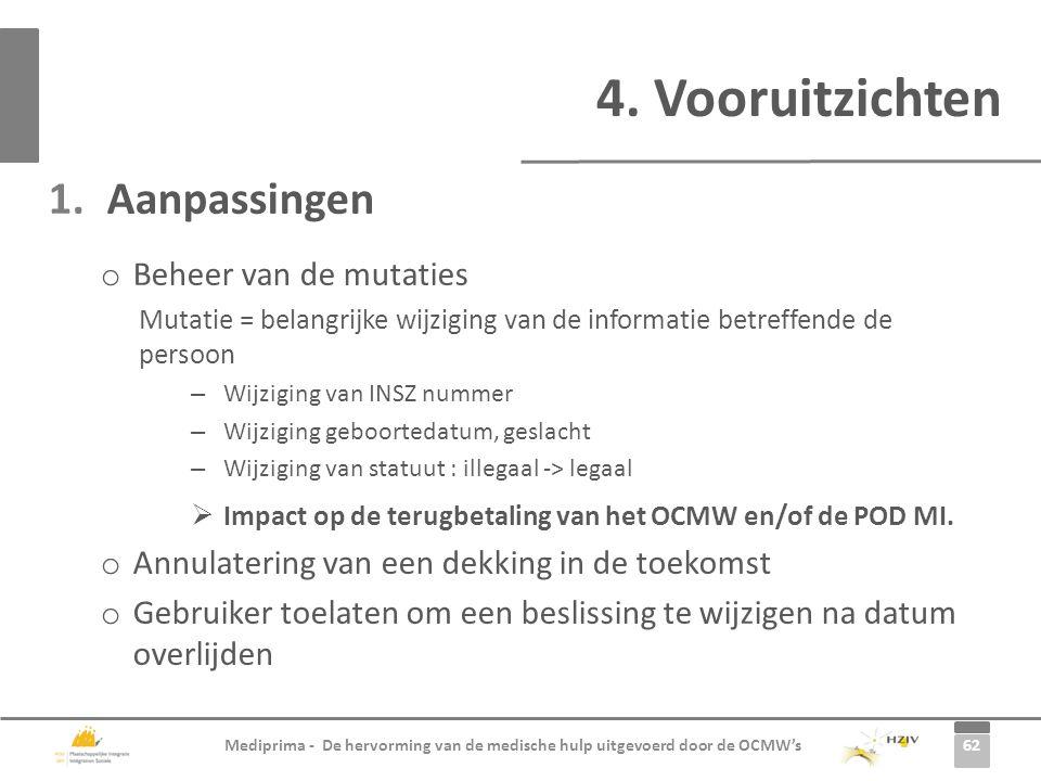 4. Vooruitzichten Aanpassingen Beheer van de mutaties