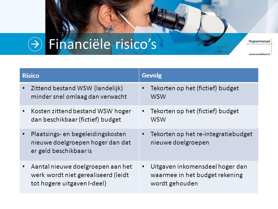 Financiële risico's Risico Gevolg