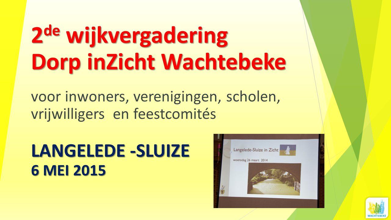 2de wijkvergadering Dorp inZicht Wachtebeke voor inwoners, verenigingen, scholen, vrijwilligers en feestcomités LANGELEDE -SLUIZE 6 MEI 2015