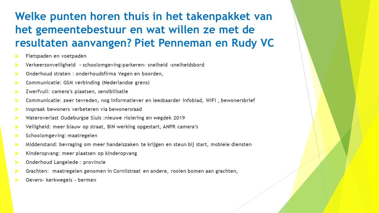 Welke punten horen thuis in het takenpakket van het gemeentebestuur en wat willen ze met de resultaten aanvangen Piet Penneman en Rudy VC